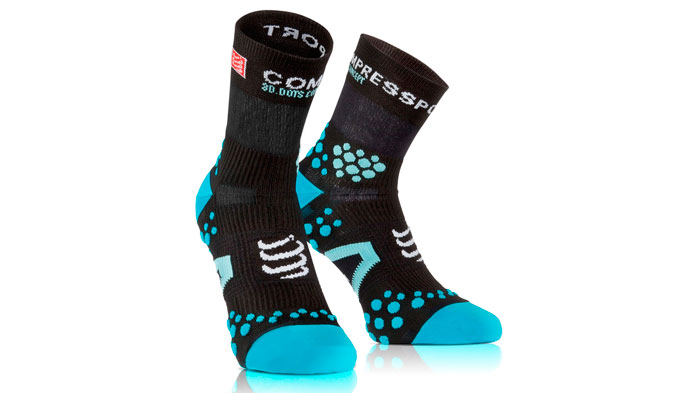 Calcetín compressport Socks run high 2.1 negro-azul