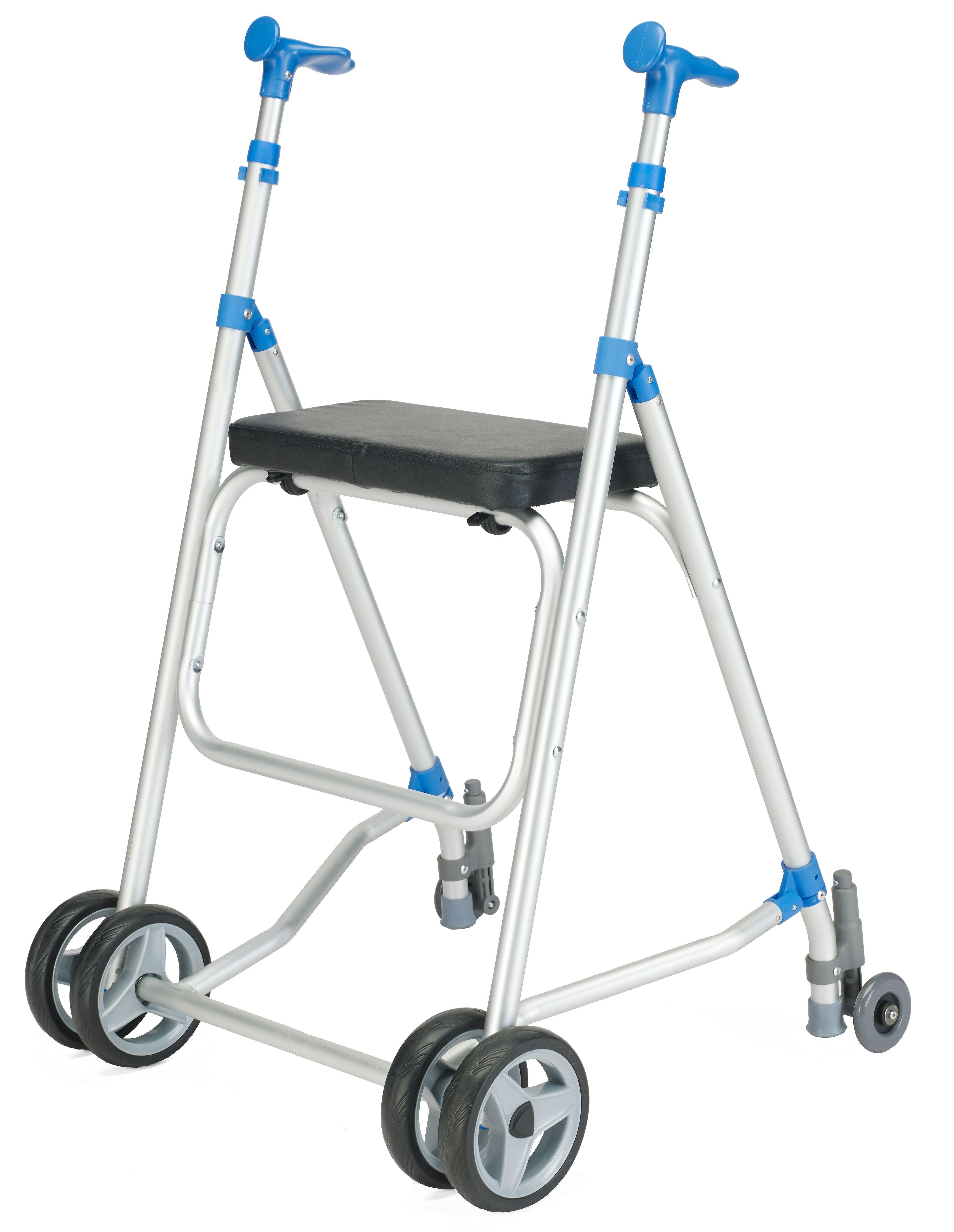 Andador Sunrise Medical aluminio con asiento y ruedas traseras