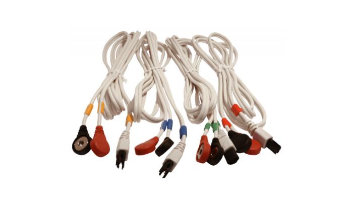 Juego 4 cables Compex 6 Pins-Snap blanco