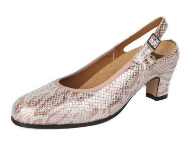 Zapato Alviflex salón con ribete en el empeine en reptil grabado y metalizado