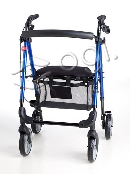 Andador Rollator aluminio con asiento, cesta, frenos y luz