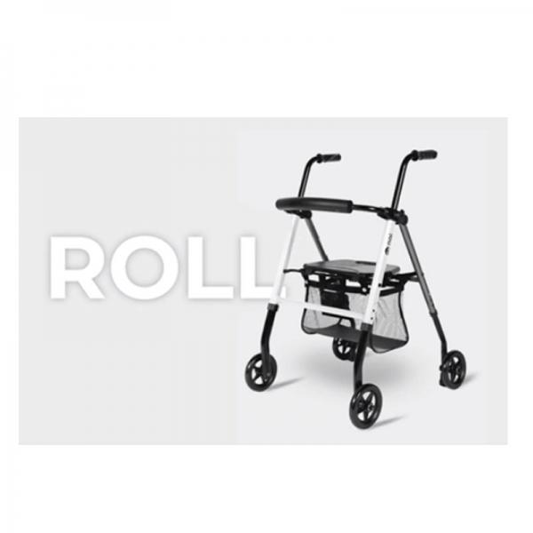Andador Aluminio con asiento, cesto, 4 ruedas y frenos por presión